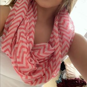 Scarf-pink and white chevron